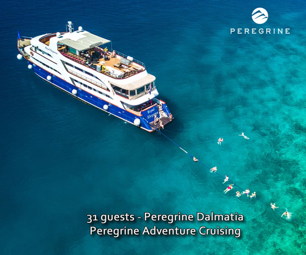 Peregrine Dalmatia in the Adriatic with guests swimming in sea