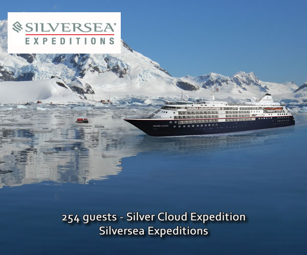 Silver Cloud Expedition ship in Antarctica