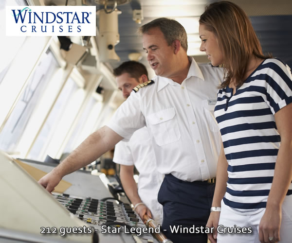 Windstar Captain and guest on Bridge